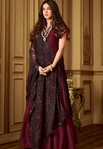 Maroon Dupion Silk Anarkali Suit with Embellished Dupatta  - 6407