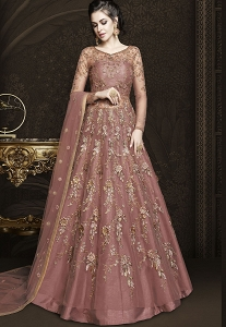 Mauve Net Floor Length Designer Lehenga Anarkali Suit - 6430