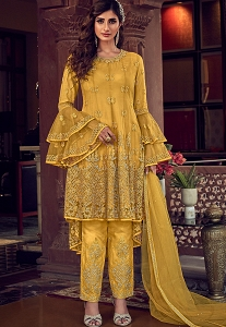 Yellow Net Embroidered Pakistani Trouser Suit - 6603