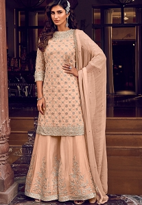 Peach Georgette Embroidered Pakistani Palazzo Suit - 6608