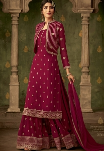 Magenta Georgette Koti Style Embroidered Palazzo Pakistani Suit - 70001