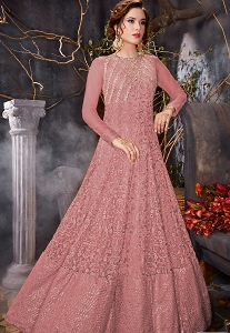 Pink Shade Net Floor Length Anarkali Suit - 7004b