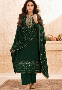 Green Georgette Embroidered Straight Trouser Suit - 7005