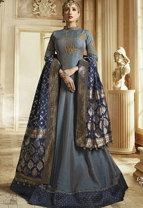 Grey Silk Embroidered Floor Length Anarkali Suit - 703