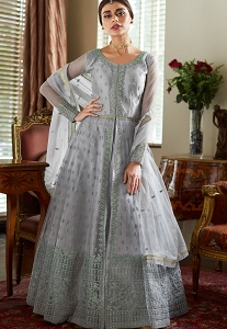 Grey Net Embroidered Floor Length Anarkali Suit - 7038