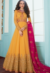 Yellow Georgette Floor Length Anarkali Suit - 7078