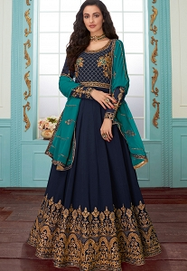 Dark Blue Georgette Floor Length Anarkali Suit - 7079