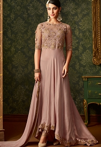 Pastel Pink Rangoli Designer Floor Length Wedding Suit - 7101