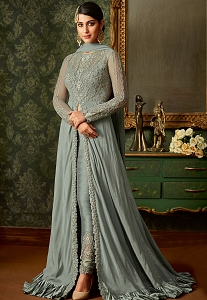 Blue Shade Rangoli Embroidered Floor Length Designer Suit - 7102