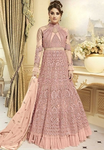 Pink Net Floor Length Anarkali Suit - 7274