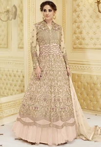 Pink Shade Silk Net Long Anarkali Suit - 7279