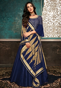 Sonal Chauhan Royal Blue Pure Silk Embroidered Anarkali Suit - 7407