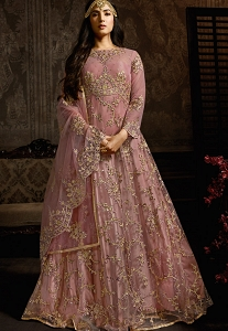 Sonal Chauhan Light Mauve Net Embroidered Floor Length Anarkali Suit - 7602
