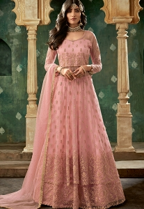 Pink Net Embroidered Lehenga Style Anarkali Suit - 78002