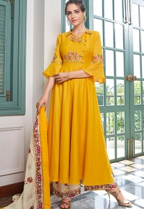 Yellow Muslin Long Palazzo Suit - 783