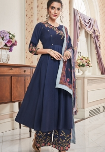 Blue Muslin Embroidered Palazzo Suit - 792