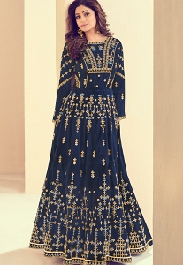 Shamita Shetty Blue Melbourne Silk Long Anarkali Suit - 8004