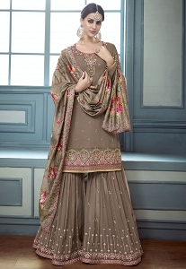 Brown Georgette Sharara Style Suit - 8004