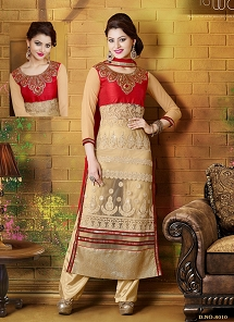 Graceful Beige Georgette Straight Cut Suit