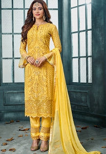 Yellow Georgette Embroidered Straight Trouser Suit - 802