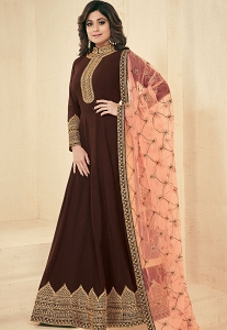 Shamita Shetty Brown Georgette Floor Length Anarkali Suit - 8042