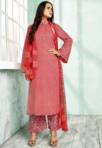 Pink Shade Pure Cotton Palazzo Style Suit - 804B