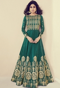 Shamita Shetty Green Shade Royal Silk Embroidered Floor Length Anarkali Suit - 8083