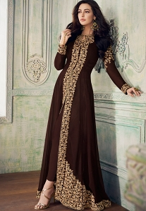 Brown Georgette Heavy Embroidered Front Slit Trouser Style Suit - 8207