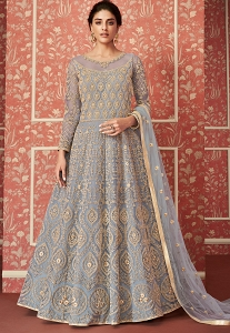 Grey Butterfly Net Embroidered Floor Length Anarkali Suit - 8306