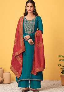 Royal Blue Art Silk Embroidered Straight Palazzo Suit - 8487