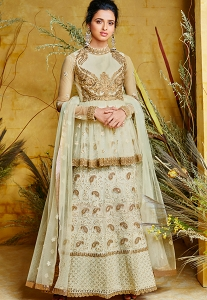 Light Green Silk & Net Embroidered Long Anarkali Suit - 85