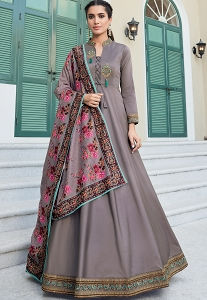 Steal Grey Soft Silk Long Embroidered Anarkali Gown - 9005