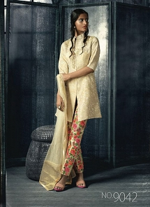 Designer Cream Silk Trouser Style Suit