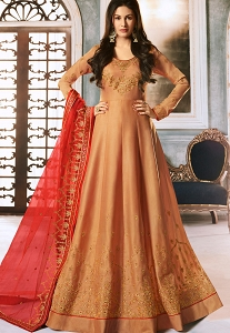 Beige Silk Embroidered Floor Length Anarkali Suit - 9059