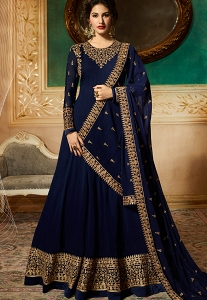 Navy Blue Georgette Floor Length Designer Anarkali Suit - 9081