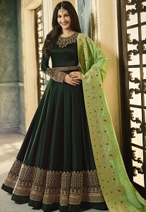Dark Green Satin Georgette Embroidered Floor Length Anarkali Suit - 9335