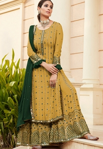 Mustard Georgette Embroidered Pakistani Palazzo Suit - 9704C