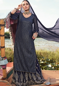 Blue Georgette Sequins Embroidered Palazzo Suit - 9902
