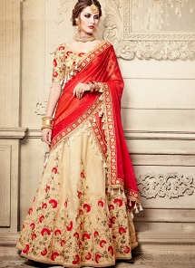 Piquant Beige & Red Dupion Silk Chiffon Wedding Lehenga