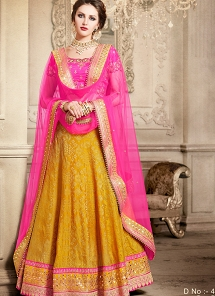 Auspicious Yellow & Pink Dupion Silk Net Wedding Lehenga