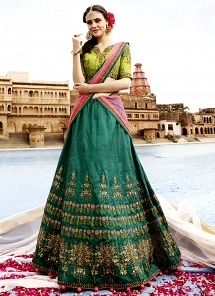 Aspiring Green Raw Silk A line Lehenga Choli