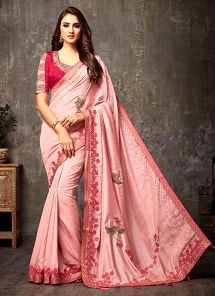 Flattering Pink Silk Lace Patch Border Embroidered Saree - 108