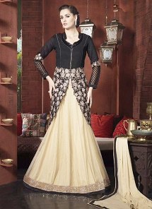Magnificent Black & Cream Bhagalpuri Silk Lehenga Style Suit