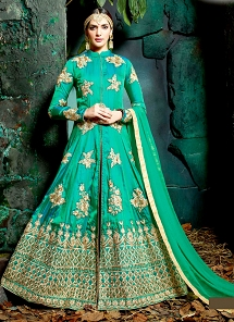 Classical Green Sultani Silk Front Slit Anarkali Suit