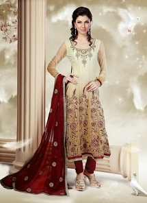 Impressive Beige & Cream Net Embroidered Anarkali Suit