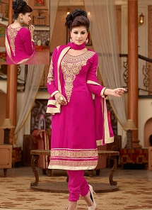 Trendy Pink Georgette Embroidered Straight Suit