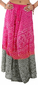 Hippie skirt. Gypsy Bohemian clothing Long Printed Skirts. Indian Bandhani Tie-dye Skirt with Large Sequins-ks16-6