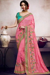 Pink Satin And Silk Saree With Dupion Blouse